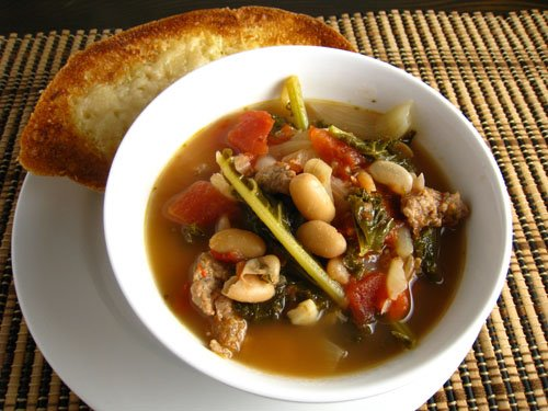 White Bean and Kale Soup with Turkey Sausage