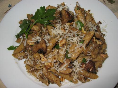Roasted Mushroom Pesto on Penne