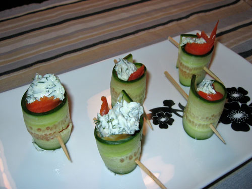 Cucumber and Smoked Salmon Rolls with Dill Cream Cheese