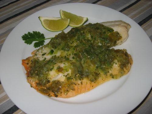Tilapia Baked in Salsa Verde