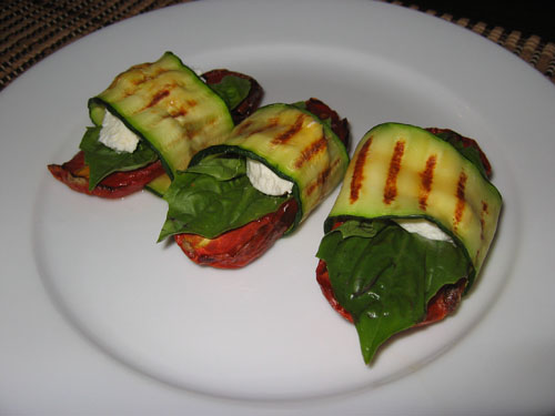 Grilled Zucchini Wraps with Oven Roasted Tomatoes and Goats Cheese