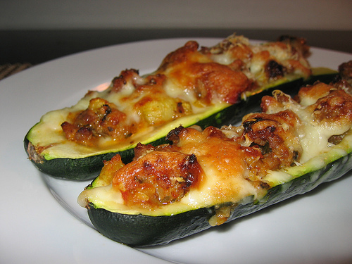 Zucchini Stuffed with Italian Sausage and Cheese