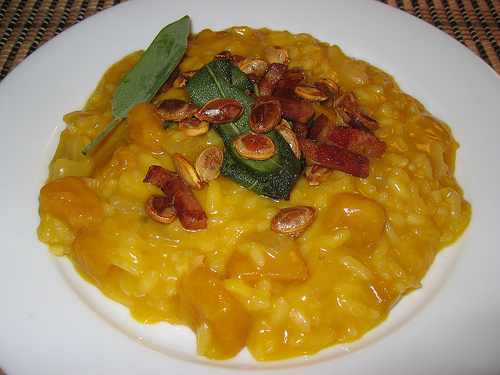 Kabocha Risotto with Sage, Seeds and Pancetta