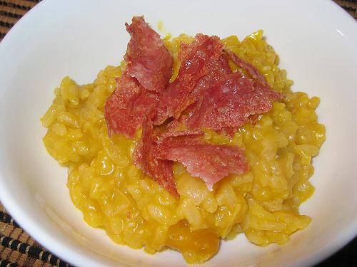 Kabocha Risotto with Fried Salami