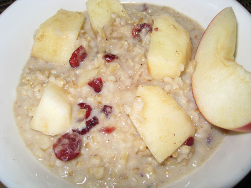 Apple Crisp Oatmeal with Cranberries