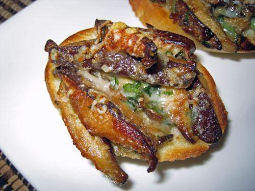 Shiitake Mushroom and Blue Cheese Crostini
