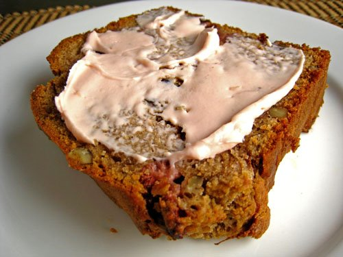 Strawberry Sour Cream Bread with Cream Cheese