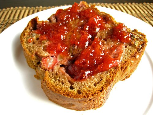Strawberry Sour Cream Bread with Strawberry Jam