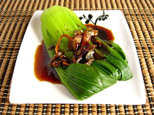 Baby Bok Choy with Fried Shallots and Oyster Sauce