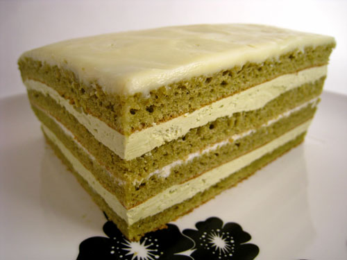 Green Tea and White Chocolate Opera Cake