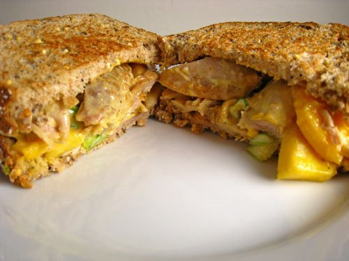 Curried Chicken and Mango Salad Sandwich