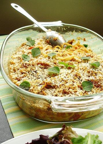 Spaghetti, Mushroom and Tomato Bake