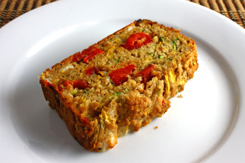 Zucchini Bread with Roasted Red Peppers and Feta