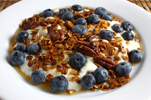 Blueberry and Maple Pecan Granola Parfait on Plate