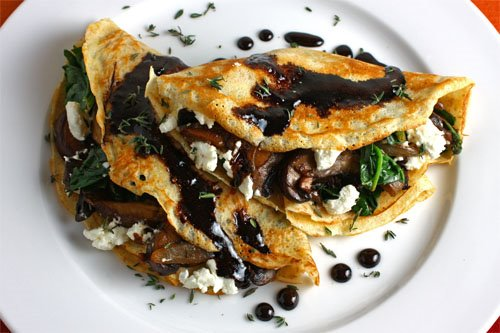 Mushroom and Spinach Crepes with Goat Cheese and Balsamic Drizzle