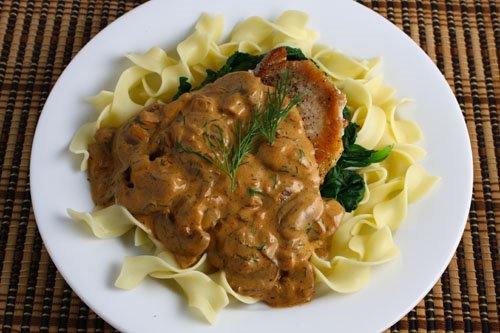 Pork Chops with Mushrooms, Dill, and Sour Cream Sauce
