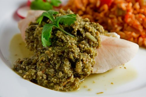 Pipian on Poached Turkey Breast