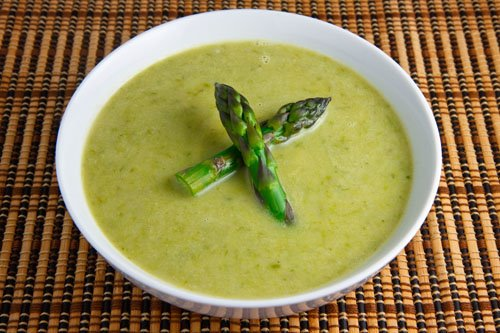 Creamy Asparagus Soup with Morel Mushrooms and Ramps