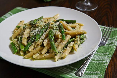 Wild Leek (aka Ramp) Pesto on Penne with Asparagus