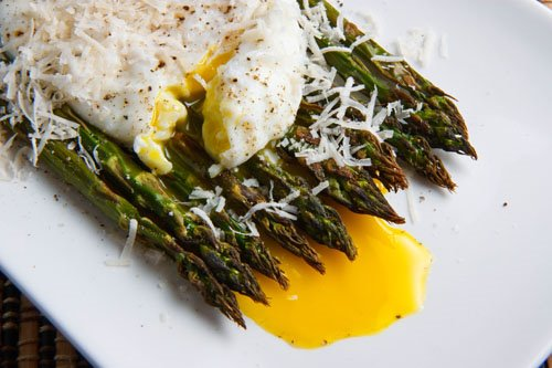 Roasted Asparagus with Poached Egg with Runny Yolk and Parmigiano Reggiano
