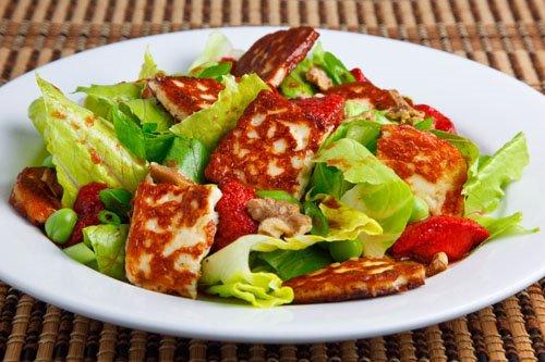 Roasted Strawberry Saganaki Salad