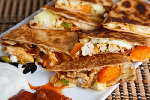 Chipotle Chicken, Apricot and Brie Quesadillas