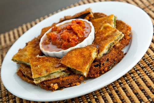 Fried Eggplant and Mozzarella with a Roasted Marinara Dipping Sauce