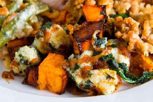 Roasted Butternut Squash with Caramelized Onions, Gorgonzola and Crispy Fried Sage