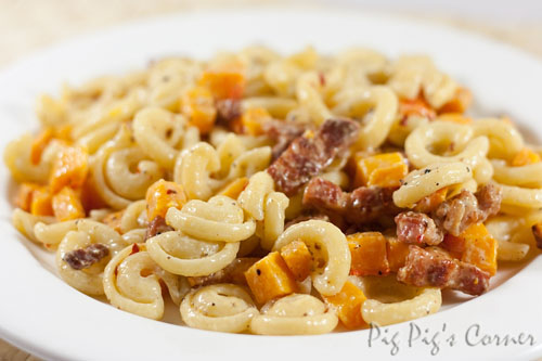 Roasted Butternut Squash Pasta with Bacon Lardons