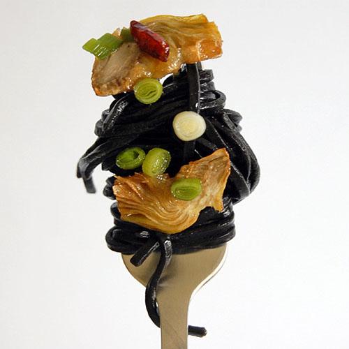 Black Linguini with Artichokes and Green Garlic