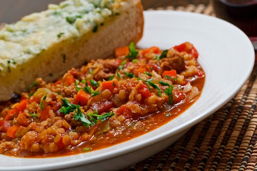 Italian Sausage and Roasted Red Pepper Lentil Stew
