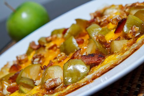 Caramelized Apple and Cheddar Omelette with Bacon and Candied Walnuts