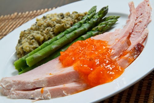 Apricot Glazed Ham with Asparagus and Pesto Mashed Potatoes