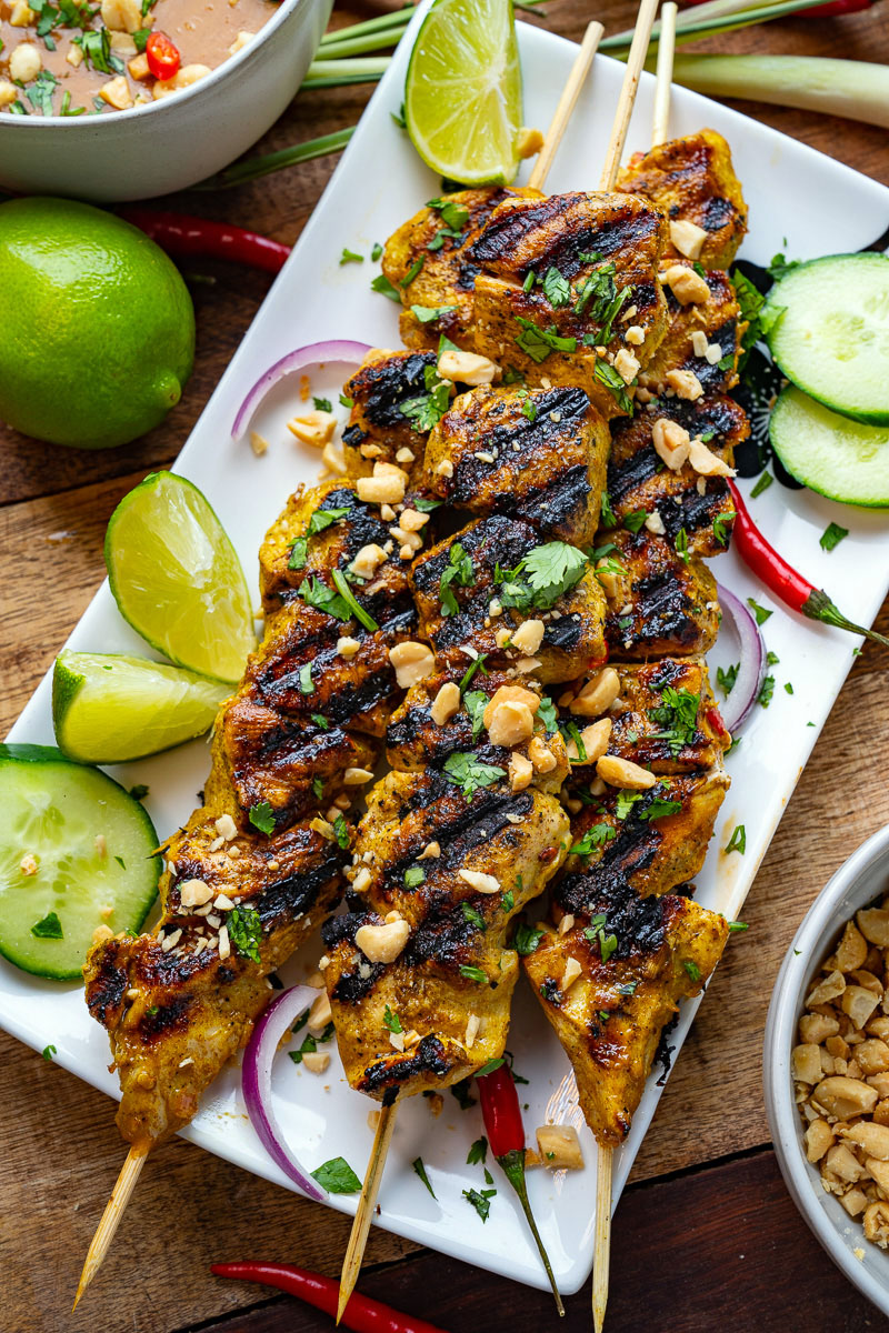 Chicken Satay With Spicy Peanut Dipping Sauce Closet Cooking