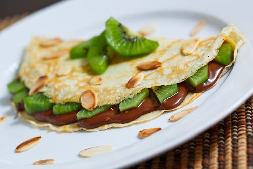 Nutella and Kiwi Crepes