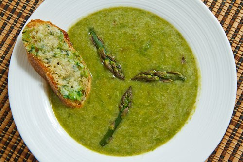 Roasted Asparagus Soup with Cheesy Ramp