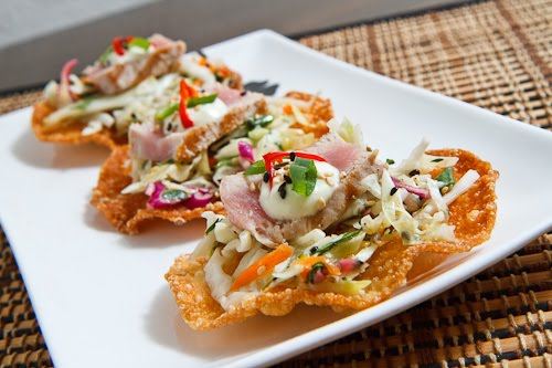 Ahi Tuna Tostadas with Wasabi Aioli