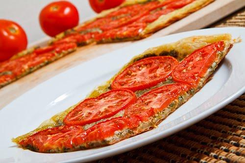Tomato and Basil Pesto Parmesan Tart