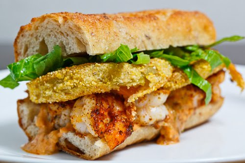 Fried Green Tomato and Shrimp Remoulade Po Boy
