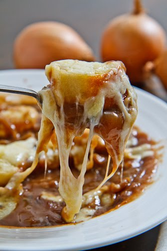 French Onion Soup with Stringy Melted Cheese