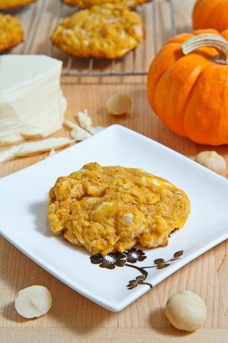 Pumpkin White Chocolate and Macadamia Nut Cookies