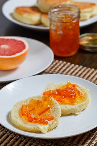 English Muffins topped with Melted Butter and Marmalade