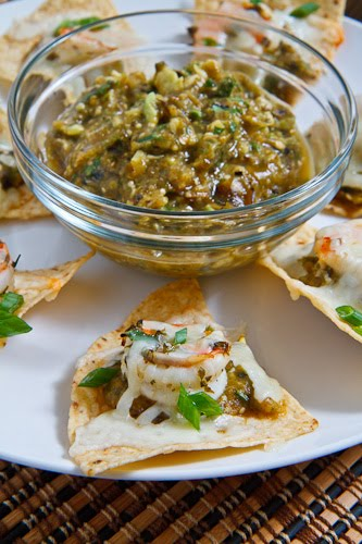 Shrimp Nachos with Avocado Roasted Tomatillo Salsa