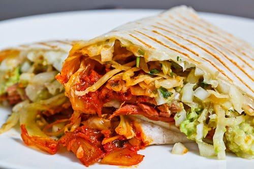 Corned Beef, Cabbage and Kimchi Burrito