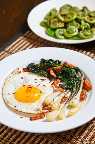 Fried Eggs, Sauteed Ramps and Bacon with a side of Fiddleheads in a Honey Dijon Dressing