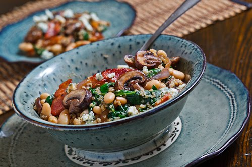 White Bean and Spinach Quinoa Salad with Bacon, Caramelized Onions, Mushrooms and Blue Cheese in a Bacon Pan Sauce Dressing
