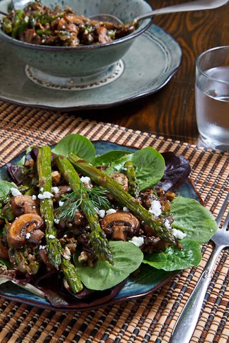 Warm Mushroom and Wild Rice Salad with Roasted Asparagus and Feta