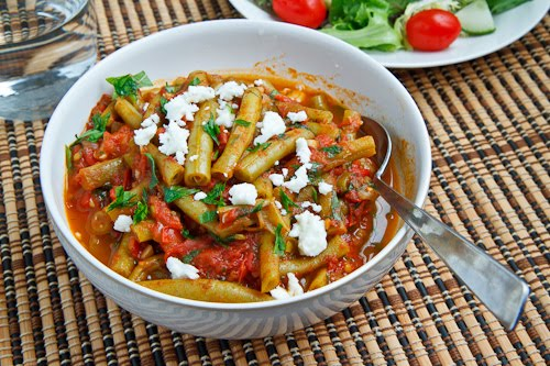 Greek Green Beans in Tomato Sauce with Feta (Fasolakia)