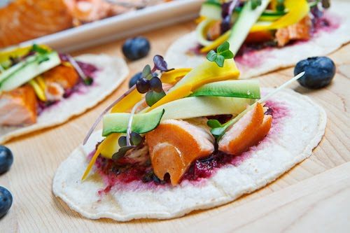 Salmon Bulgogi Tocos with Blueberry Habanero Salsa