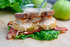 Fried Green Tomato BLT with Shrimp Remoulade